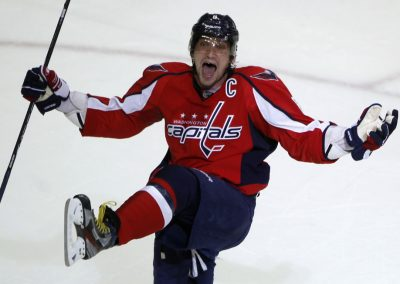Washington Capitals left wing Alex Ovechkin celebrates after scoring against the Boston Bruins in the third period of Game 6 of their NHL Eastern Conference quarter-final hockey playoff series in Washington